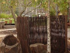 "let the children play: just add greenery ""brush screening"" could go behind posts, in corner (or bamboo)"