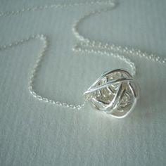 love knot silver necklace