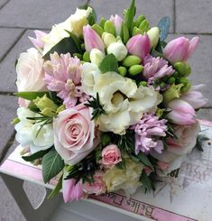 Sweet Avalanche Rose, Cream Lisianthus, Pink Tulips, White Freesia, Pink Hyacinth Bridal Bouquet