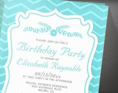 Teal Chevron Stripes Birthday Party Invitation