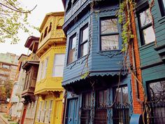 Kuzguncuk district, Istanbul .. colorful houses in streets of turkey ..