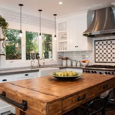 """488 Likes, 33 Comments - Rejuvenation (@rejuvenation) on Instagram: """"Loving the look of reclaimed wood + our McCoy industrial cord pendants in this complete kitchen…"""" Farmhouse Kitchen Island, Wooden Island Kitchen, Floating Kitchen Island, Island Table, Island Bench, Farmhouse Chic, Farmhouse Table, Rustic Kitchen, Butcher Blocks"""