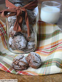 Sugar Free Chocolate Crinkle Cookies #glutenfree