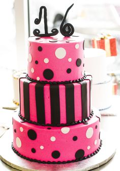 Sweet 16 cake with polka dots and stripes. Cake # 025.