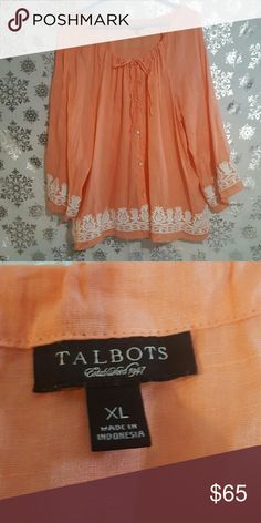 Talbots Boho Embroidered Flowey Top Great Condition. More of an orange pink in person. Talbots Tops