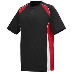 Black, red, and white adult base hit jersey. Customize with your team's logo at Unitedteamsports.com