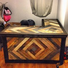 THIS WOULD BE AWESOME BAR/COUNTER WOULD STAIN THE TOP ALL DARK THOUGH TO MAKE THE SIDES REALLY POP