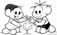 Mônica e Cebolinha plantando uma árvore