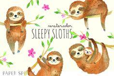 Sleepy Sloths Watercolor Pack sloth sleep nursery sloths baby three toed cute animal watercolor painted handmade hand drawn branch bedtime clipart clip art