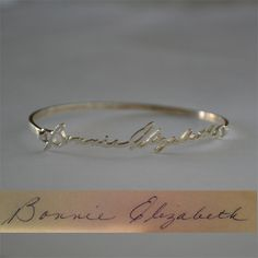 grandmother's signature incorporated into a piece of jewelry.