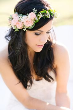 Flora Fetish LLC - Austin Florists - Peachy-pink garden rose flower crown, perfect for a boho bride