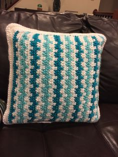 Crocheted teal cushion cover Teal Cushion Covers, Teal Cushions, Crochet Cushion Cover, Crochet Cushions, Crochet Pillow, Crotchet, Crochet Patterns, Throw Pillows, Blanket