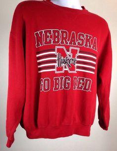 Vintage Nebraska Huskers Crewneck Sweatshirt L Go Big Red   eBay