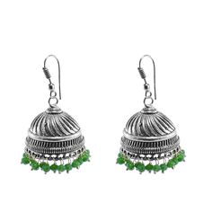 Silvestoo India Jaipur Traditional Oxidized Silver Beautiful Color Fashion Handmade Drop Earring Floral Jhumki With Small Green Crystals PG-100885   https://www.amazon.co.uk/dp/B06XXHY16V