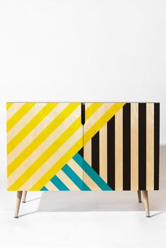 Three Of The Possessed Wave TriColour Credenza DENY Designs Home Accessories The post Three Of The Possessed Wave TriColour Credenza appeared first on Garden ideas - Upcycled Home Decor Geometric Furniture, Funky Painted Furniture, Recycled Furniture, Home Decor Furniture, Furniture Makeover, Cool Furniture, Furniture Design, Futuristic Furniture, Plywood Furniture