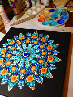 Love this blue and orange mandala Mandala Design, Mandala Art, Mandala Rocks, Mandala Painting, Mandala Pattern, Easy Mandala, Dot Art Painting, Painting Patterns, Stone Painting