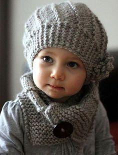 Knitting Patterns Yarn Cool Wool Hat and Cowl Set - Knit Hat Pattern Knitting For Kids, Knitting Projects, Baby Knitting, Crochet Baby, Crochet Projects, Knit Crochet, Free Knitting, Crochet Shawl, Knitted Hats Kids
