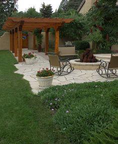 Natural stone patio and pergola