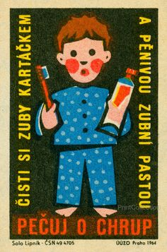Honor Teeth, Clean and Brush Your Teeth print, Pecuj o Chrup, Czech, various sizes, bathroom art