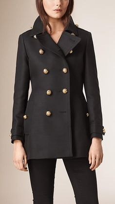 Black Cotton Wool Blend Military Coat