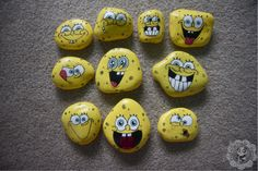 Spongebob painted rock  Facebook.com/PaintedPandaDesigns