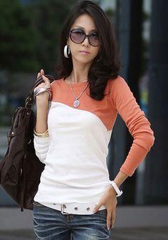 Orange Color Block Slim T-Shirt
