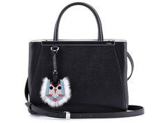 13a7a7bec341 Fendi  Petite Leather Shopper with Genuine Mink Fur   Genuine Fox Fur Bird  Charm