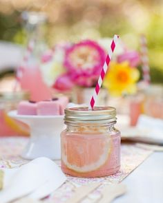 Summer Baby Shower. I love the mini mason jar idea. May want to pre-make these, or nix them all together if kids are invited (glass).