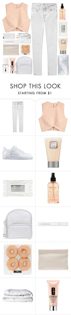 """♡; intoxicated with madness, i'm in love with my sadness"" by xo-ashlyn-ox ❤ liked on Polyvore featuring Acne Studios, Finders Keepers, NIKE, Laura Mercier, Stila, philosophy, Jil Sander Navy, Brinkhaus, Clinique and Christian Dior"