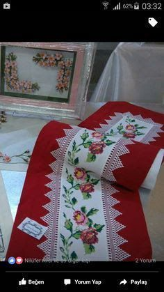 This Pin was discovered by Ban Ribbon Embroidery, Cross Stitch Embroidery, Embroidery Patterns, Cross Stitch Patterns, Palestinian Embroidery, Free To Use Images, Ribbon Work, Sewing Table, Table Toppers