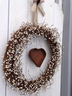 "18"" Rustic wreath- Primitive Wreath- Country Wreath,-Cream Wreath-, Heart Wreath- Shabby Chic- Hand Crafted Wreath. $55.00, via Etsy."
