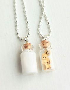 Jewelry. Best friend. Neklace. Bottle. Milk. Cookies.
