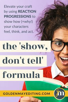 You know how important the 'Show, Don't Tell' technique is but you're not exactly sure how to translate that to your prose. In this guide, we break down the art of using your characters external and internal reactions to show how (and why!) they feel, think, and act. #amwriting #writingcommunity Editing Writing, Fiction Writing, Writing Prompts, Start Writing, Writing A Book, Plotting A Novel, Creative Writing Tips, Writing Characters, Writing Resources