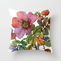 Tea Rose Throw Pillow by Sofia Perina-Miller - $20.00