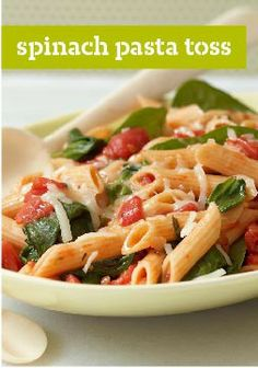 Spinach Pasta Toss – Spinach. Tomatoes. Cheese. Penne pasta. With ingredients this good, you don't need much else! (Bonus: This only takes 25 minutes to make, start to finish.)