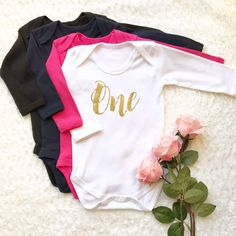 Gold First Birthday Outfit Girl One Year Old Girl Birthday Gold First Birthday Outfit, 1st Birthday Shirts, Girl First Birthday, Vest Outfits, Girl Outfits, One Year Old, 1 Year, Inspiration For Kids, Long Sleeve Bodysuit