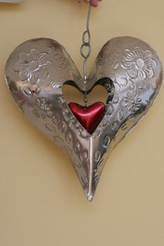 Metal Heart Within a Heart Silver tin heart with etched pattern and a ...  casabelladesignsonline.com