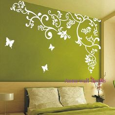 cherry blossom birds nursery wall decals tree vinyl wall decals decal children wall sticker- vine white flower birds Z151 by cuma  Bird Nursery, ...