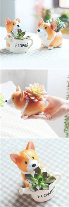[Visit to Buy]  Mini Garden Flower Plant Pot Animal Corgi Resin Decorative Ceramic Terracotta Bonsai Bloem fleur succulents pottery glazed  Pot #Advertisement