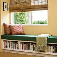 Corner Window Seat Featured Green Pad And Book Storage : Create A Corner Window Seat