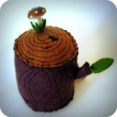 tree stump pin cushion