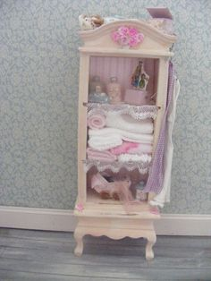 Dolls house little girls cabinet shabby chic by juliedeighton, $74.00