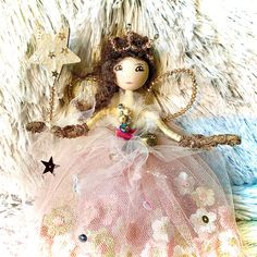 Hand crafted from wood, nets, vintage fabrics and new, Swarovski crystals and lace Fairy Tree, Christmas Fairy, Tree Toppers, Vintage Fabrics, Swarovski Crystals, Glass Beads, Lace, Crafts, Manualidades