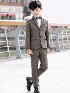 Boy's Solid Color Turn-down Collar Long Sleeves T-shirt&Coat&Pants&Tie&Vest