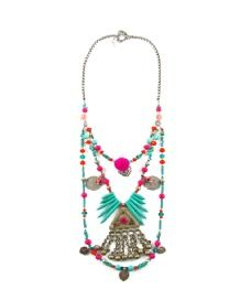 Tiny Touch Of Frida Necklace Turquoise Necklace, Beaded Necklace, Pendant Necklace, Semi Precious Beads, Old Coins, Candy Colors, Necklace Designs, Bright Pink, Designing Women