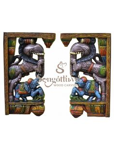 Multicoloured Trunked Yaazhi with Elephant Corbels Wood Crown Molding, Door Brackets, Wooden Elephant, Indian Art Paintings, Wood Carving Art, Pooja Rooms, New Year Wishes, Dark Wax