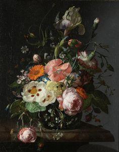 Rachel Ruysch - Nature morte de fleurs sur une table de marbre 1716