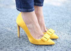 Bows - yellow - heels