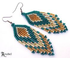 Emerald and Gold  Native American Style Seed Bead Earrings