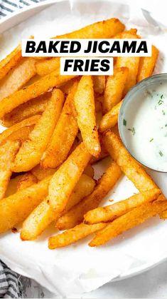 Healthy Dinner Recipes, Keto Recipes, Healthy Snacks, Vegetarian Recipes, Vegetarian Diets, Healthy Eating, Vegetable Side Dishes, Vegetable Recipes, Jicama Fries